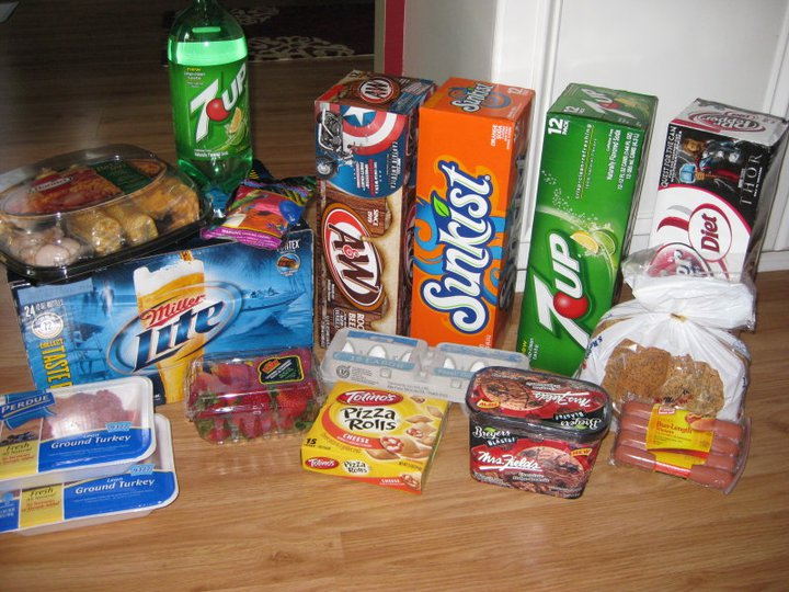 Loot includes: Hormel party tray, balloons, liter of 7up, 12 packs of pop (4), 24 pk of Miller Lite bottles, 2 lbs ground turkey, strawberries, eggs, pizza rolls, hot dogs & buns, ice cream. Total cost: $7.23