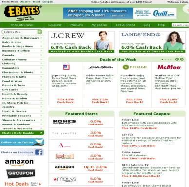 ebates homepage